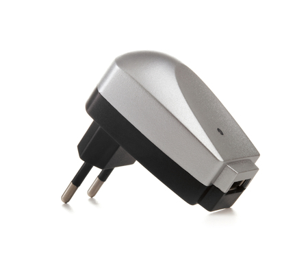usb port: Electrical adapter to USB port on a white background Stock Photo