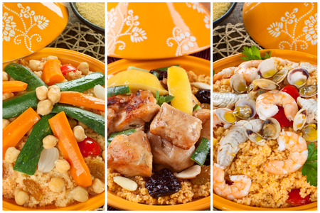 Tajine collage with three types of preparation, meat, fish and vegetables. photo