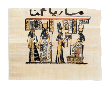 scribes: Egyptian papyrus showing Nefertari and Isis. Copy of a painting from Nefertaris tomb in Thebes.