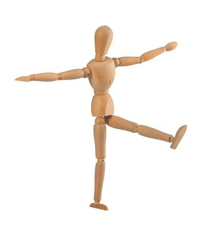 vestibular: Wooden dummy in the balance on white background Stock Photo