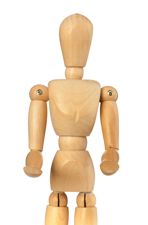 Wooden dummy that brings something with his hands forward on white background photo