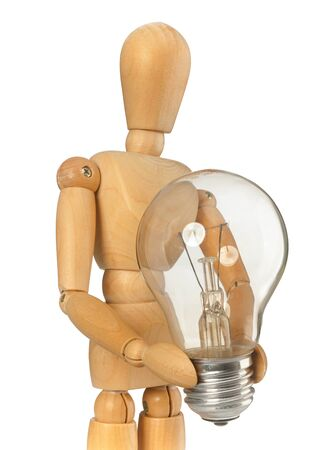 maintains: Wooden dummy that maintains a light bulb in hand on white background