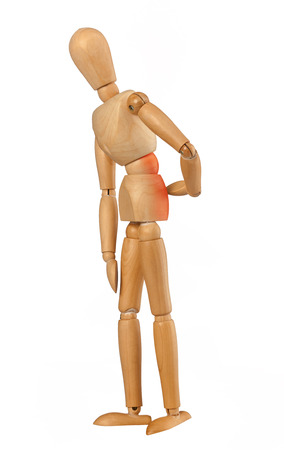 Wooden dummy with back pain isolated on white background