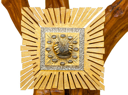 tabernacle: Golden Tabernacle on wooden tree isolated on white background.