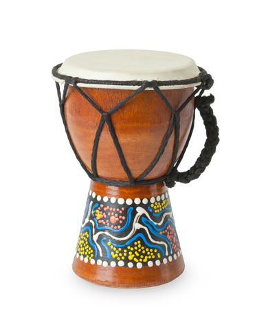 ornamente: Original african djembe drum isolated on white background.