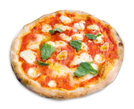 Pizza Margherita with mozzarella, tomatoes and basil isolated on white background. Stockfoto