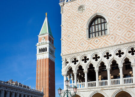 the campanile: Campanile bell tower and architecture detail of Doges Palace, Venice, , Italy.