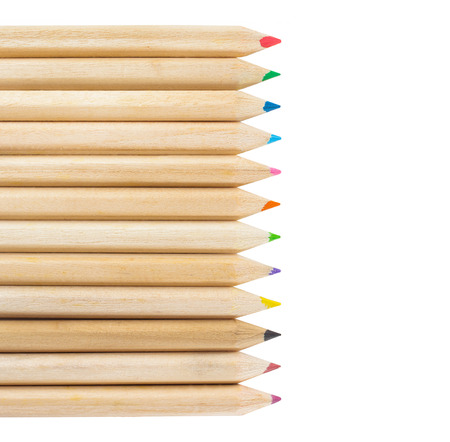 coloured pencil: Multicolored pencils isolated on white background