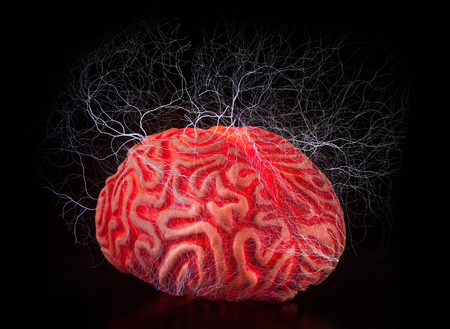 shocks: Human rubber brain with electric shocks on black background.