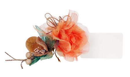 favor: Favor with tulle and satin on white background.