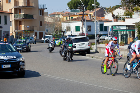 """internationally: EMPOLI, ITALY - MARCH 13, 2015: The Tirreno-€""""Adriatico cycling race. The race is an elite internationally recognized cycle following a route between two coasts on March 13,2015 in Empoli. Editorial"""