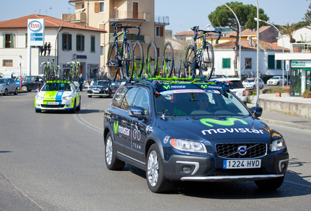 """EMPOLI, ITALY - MARCH 13, 2015: The Tirreno-€""""Adriatico cycling race. The race is an elite internationally recognized cycle following a route between two coasts on March 13,2015 in Empoli. Redakční"""