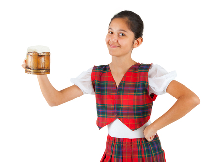 anglo saxon: Teenager dressed with red plaid clothing and mug of beer on white background.