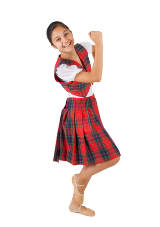 anglo saxon: Teenager dressed with typical clothes red plaid on white background.