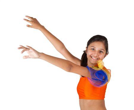 latin american: Teenage girl dancing with Latin American clothing on white background.