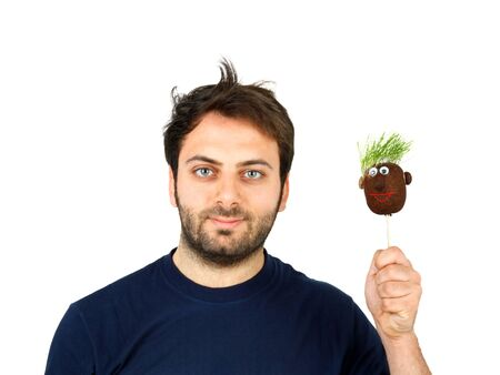 poorly: Young man with unkempt hair isolated on white background Stock Photo