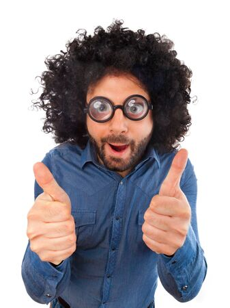 uncombed: Funny man with the wig showing thumbs up sign on white background.