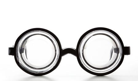nearsighted: Black Round Bottle Glasses Isolated on White Background Stock Photo