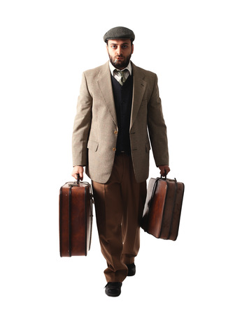 depart: Emigrant man with the suitcases isolated on white background Stock Photo
