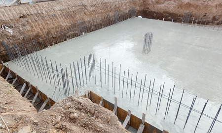 Foundation of a new house with reinforced concrete. Stock Photo