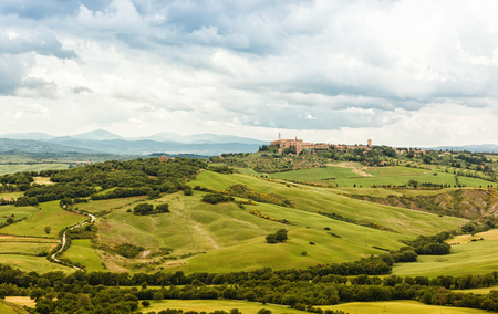 agriturismo: View of the town of Pienza with the typical Tuscan hills from locality of Monticchiello. Stock Photo