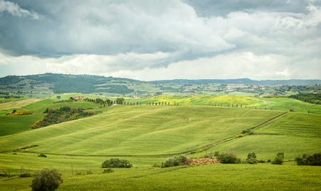 Beautiful view of scenic Tuscany landscape in Val dOrcia, Italy