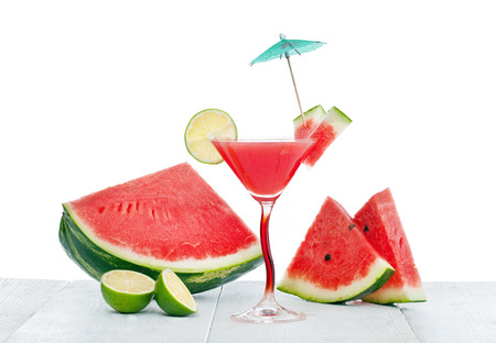 watermelon slice: Drink of watermelon juice with lime slice on white background