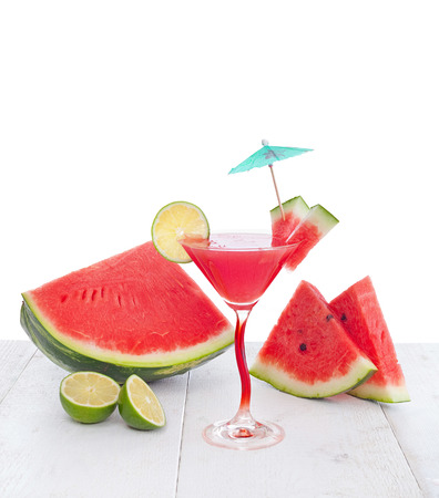 non alcoholic beverage: Drink of watermelon juice with lime slice on white background