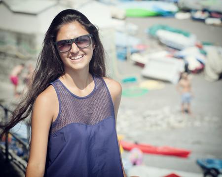 positano: Young teenager near the beach in Positano, Italy.