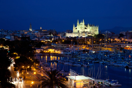 Best view of Palma de Mallorca with the Cathedral Santa Maria by night.