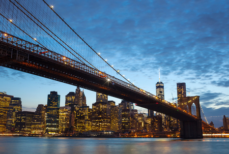 brooklyn bridge: Spectacular view of Manhattan by night from Brooklyn, New York City