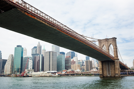 manhattan bridge: Brooklyn Bridge and Manhattan Skyline, New York City