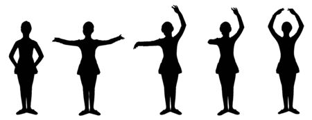 classical dance: Five steps of classical dance. Silhouettes isolated on white background