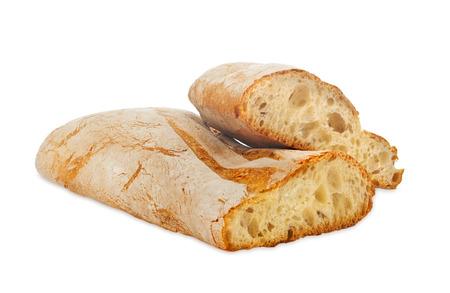 Ciabatta, Italiaans brood op een witte achtergrond