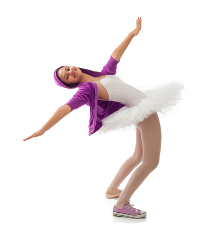 classic contrast: Ballet dancer, classical and modern concept of ballet. Stock Photo