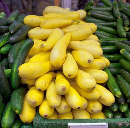 chelsea: Yellow zucchini at chelsea market, New York Stock Photo