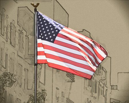 spangled: Drawing of USA flag waving in the wind