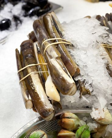 chelsea market: Razor clams on ice for sale at market Stock Photo