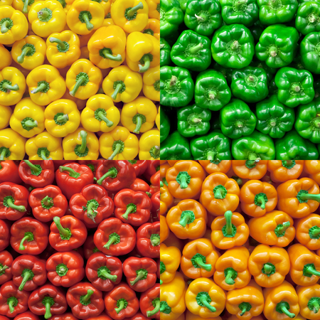 chelsea market: Collage of fresh bell peppers for sale