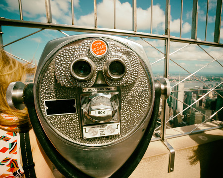 Coin operated binoculars with vintage effect, top of the empire state building, new york. Stock Photo