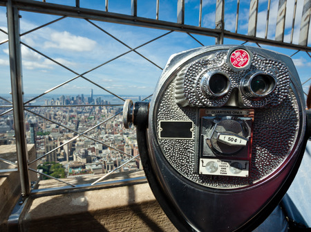 viewing: Coin operated binoculars, top of the empire state building, New York.
