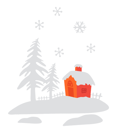 snows: Christmas scene with trees and house while it snows on white background. Stock Photo