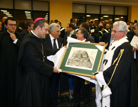 abbot: CASSINO, FR, ITALY - 20 FEBRUARY, 2008: Pietro Vittorelli, former abbot of the Abbey of Montecassino, with the rector Paolo Vigo at the inauguration of the academic year 2008 at the University of Cassino.