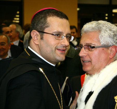public figure: CASSINO, FR, ITALY - 20 FEBRUARY, 2008: Pietro Vittorelli, former abbot of the Abbey of Montecassino, with the rector Paolo Vigo at the inauguration of the academic year 2008 at the University of Cassino.