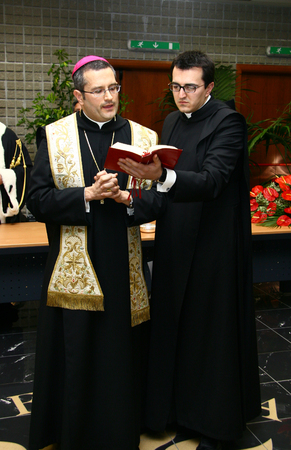 abbot: CASSINO, FR, ITALY - 20 FEBRUARY, 2008: Pietro Vittorelli, former abbot of the Abbey of Montecassino, at the inauguration of the academic year 2008 at the University of Cassino.