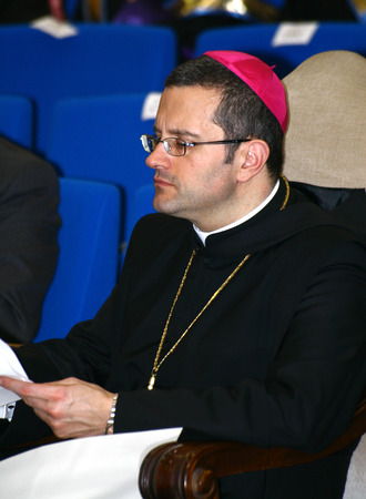 public figure: CASSINO, FR, ITALY - 20 FEBRUARY, 2008: Pietro Vittorelli, former abbot of the Abbey of Montecassino, at the inauguration of the academic year 2008 at the University of Cassino.
