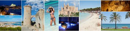 landscape format: Collage of Palma de Mallorca in landscape format. Stock Photo