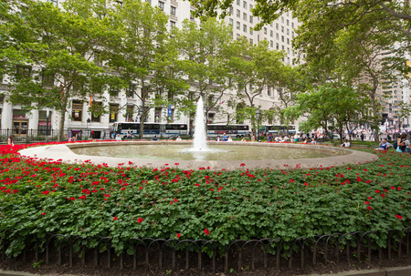 city park fountain: NEW YORK CITY , USA - JULY 08, 2015: Fountain at Bowling Green park in Lower Manhattan, New York City.