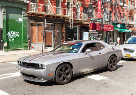 rt: NEW YORK CITY , USA - JULY 07, 2015: Silver Dodge Challenger RT  2014 in Manhattan.