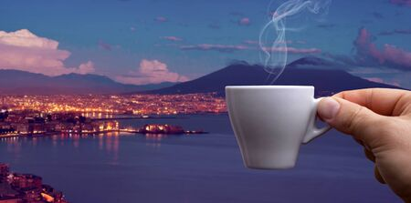 neapolitan: Espresso coffee cup, the original Neapolitan coffee over the Gulf of Naples.